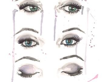 Eye Trio Watercolor Painting