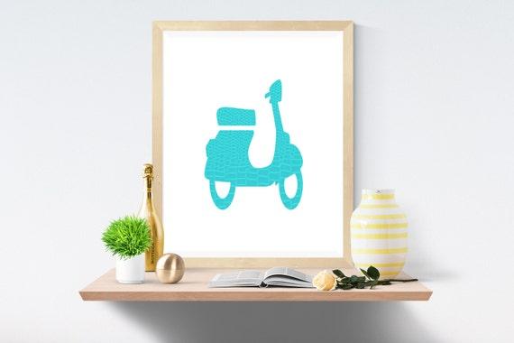 Vespa, Vespa Download, Motor Scooter, Motor Scooter Art, Digital Scooter, Retro Scooter, Digital Art, Printable Art, Vespa Art, Scooter Art