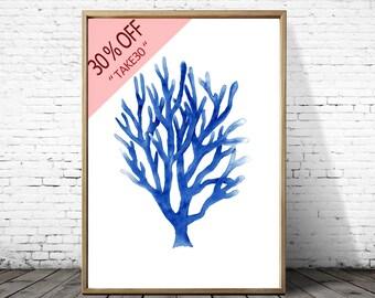 Coral Print, Beach Wall Art Decor, watercolor Coral art , Coastal Decor Wall Art, blue coral , Square Print, Seaweed, Nautical Decor