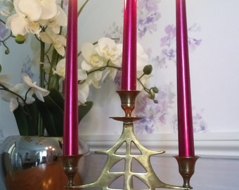 Brass  Tree Candelabra. Holds 3 candles