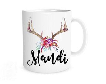 Floral Mug I Bridesmaid Mug, Bridesmaid Gift, Bridesmaid Favor, Gifts for her, Antler Mug, Floral Mug, Wedding Gift, Floral Antler Mug