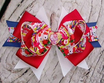 Hello Kitty Hair Bow/Hello Kitty Barrette/Hello Kitty Hair Clip/Character Hair Bow/Hello Kitty/Toddler Hair Bow/Girls Hair Bow/Hair Bow