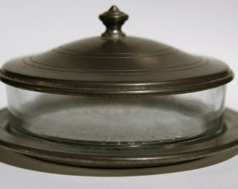 Old English Pewter Covered Glass Dish