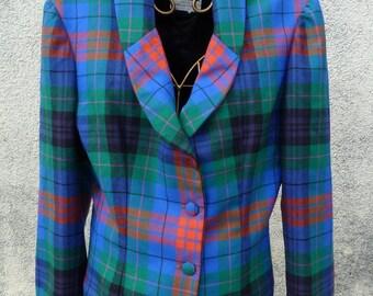 jacket tiles colored 80 / 90s fabric WURMSER PARIS couture size 40