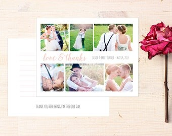 Wedding Thank You Card with Photo, Printed Wedding Thank You, Wedding Photo Thank You Cards Printed, Photo Thank You Cards