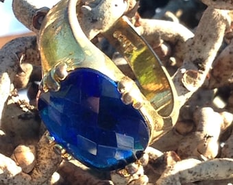 EDCO vintage ring blue oblong faceted glass gold plated band mens:10