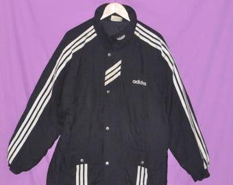 Vintage 90s Adidas Trefoil Big Logo Large Size Nylon Polyester Jacket