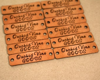 Personalized Knitting Labels - Custom Leather Labels, Personalized Logo Labels Tags, Leather Tags for Knitting - ORCHID DESIGN