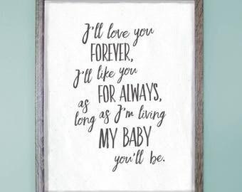 "I'll love you forever, I'll like you for always (8"" x 10"" Art Print - Bethany Lynne Design)"
