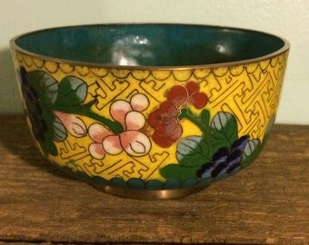 Cloisonné Bowl in Yellow with Blue Interior