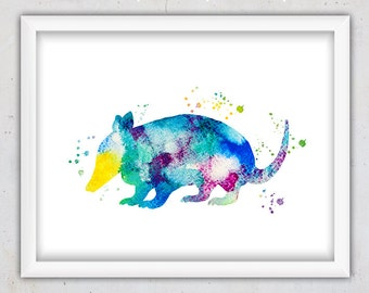 Nursery Wall Art, Nursery Print, Instant Download Printable Nursery Art, Watercolor Art, Kids Room Decor, Armadillo Watercolor Animal Print