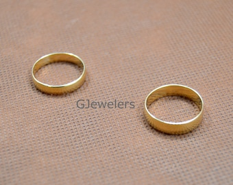 Solid 4mm Real 10K Yellow Gold Comfort Fit Men Women Wedding Band Ring NEW Free Shipping