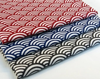 Batch of 3 coupons 50 cm x 50 cm sushi seigaiha blue, grey anthracite, red - 100% cotton