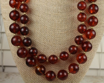 """Vintage 23"""" Plastic Root Beer Colored Beaded Necklace - Estate Sale - Circa 1960 - #571"""