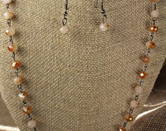 "54"" Rose 2 Tone Faceted Glass Bead Necklace w Matching Earring - Jewelry - Estate Sale - # 626"
