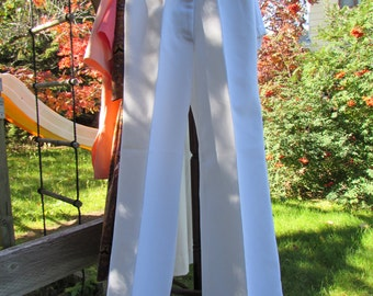 50% OFF 1970s White Polyester Bellbottom Pants Trousers