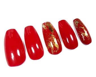 10/20 Red nails with gold nail foil gel polish press-on nails nail art beauty long coffin classic nails USA