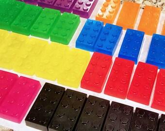 Bulk ~ 20 ORGANIC LEGO SOAPS ~ Fruity Fun! / All Organic Oils / Aloe / Phthalate Free / Gluten Free / Vegan / Great Party Favors!