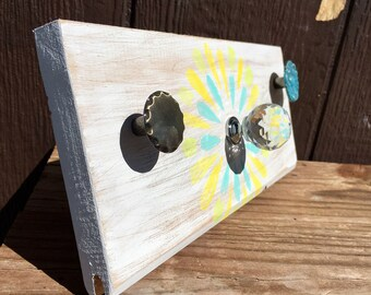 Knob Necklace Holder | Homemade jewelry storage | spring and summer colors