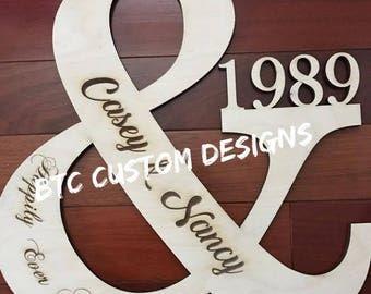 Wood Ampersand, Wooden Ampersand, wood Wall Decor, Personalized Door Monogram, Wooden Door Monogram, Wood Door Monogram, Wedding Ampersand