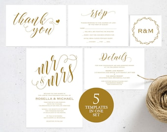 Gold Wedding Invitation Template, Wedding invitation template, Wedding Invite, Kraft wedding Invitation, pdf instant download, WPC_113
