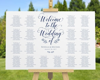Navy Blue Wedding seating chart, printable seating chart, Seating Chart Template, engagement seating chart, Find your seat sign, WPC_518