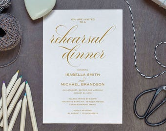 Gold Rehearsal Dinner invitation template, rehearsal printable, modern, invitation templates, wedding rehearsal, WPC_1002