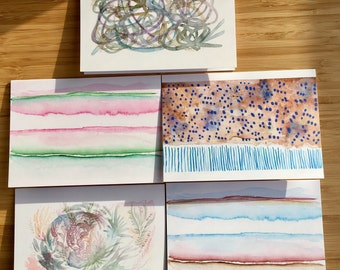 Watercolour Notecards, Blank Cards, Greeting Card, Blank Notecards, Notecard Set, Abstract Notecards, Minimalist Notecards, Set of Five