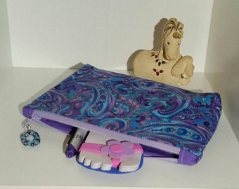 Small zippered pouch / Accessory case - Blue/Purple Paisley pattern