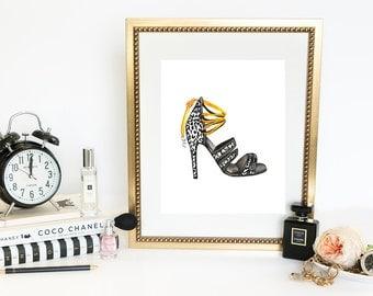 Watercolor Fashion Print, Digital Fashion Illustration