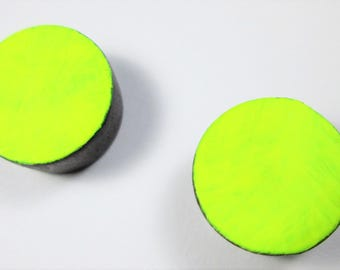 Clock Earrings in Neon Yellow
