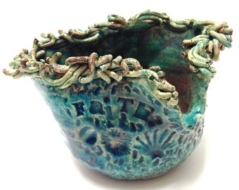 FAITH Raku Pottery Bowl with Turquoise and Copper Crackle Glaze with Iridescent Colors - Handmade Pottery Spiritual Pottery with Words