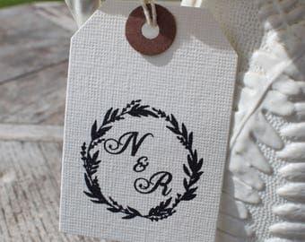 Custom Monogram Wreath Stamp