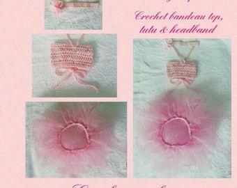 Pretty In Pink, Infant Girls' Crochet Bandeau Top, Tutu & Headband