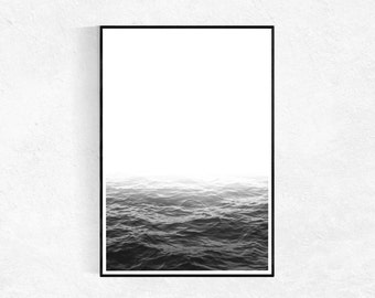 Ocean Art Print, Coastal Print, Modern Minimalist, Black And White Seascape Photography, Scandinavian Print, Large Poster, Printable Art