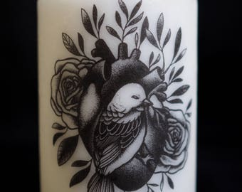 MEDIUM candle model - heart bird