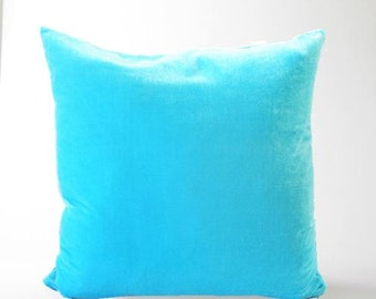 "Silk velvet electric sky blue pillow cover 20"" x 20 square cushion cover"