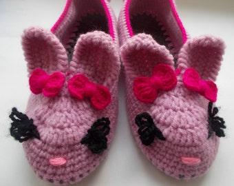 Slippers Slippers socks Women's slippers Hares Slippers for home Slippers handmade crochet on felt soles