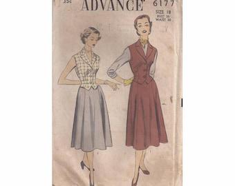 1950s Advance 6177 Skirt & Weskit Pattern Vintage Pattern Size 18
