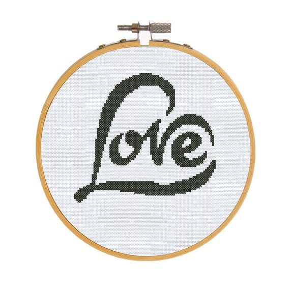 Love cross stitch pattern beginner embroidery