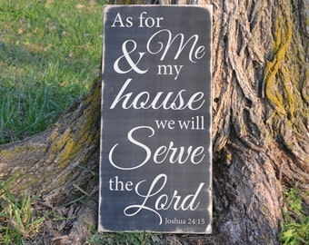 As For Me and My House Joshua 24:15 Wood sign vinyl decal sign