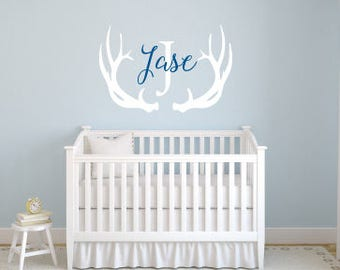 Deer Antler Monogram with Initial Vinyl Wall Decal Personalized Monogram Decal Boy Nursery Decor Wall Sticker