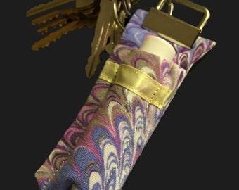 Chapstick Keychain - Purple and Yellow Pattern