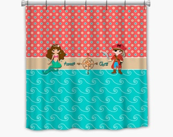 mermaid and pirate shower curtain mermaid curtain etsy 253