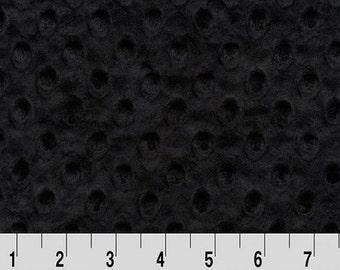Shannon Minky Fabric, Shannon Dimple Dot Minky Fabric, Minky Fabric, Black Minky Fabric, Black Minky, Minky Fabric By The Yard