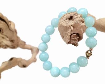 Aqua Amazonite Bracelet, Healing Energy Beaded Bracelet, Customizable Charm Gemstone Bracelet,  Mala Beads, Yoga Bracelet, Gift for Her