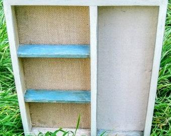 Tan and Green Memo Board Display Shelf, Photo Display, Burlap Memo Board
