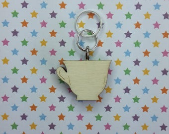Tea cup wooden stitch marker - knitting notions - charm
