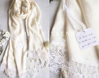 Ivory Pashmina Scarf, Set of 1,2,3,4,5,6,7,8,9,10, Pashmina Lace Shawl, Pashmina shawl, Wedding Favor, Bridal Shower Gift, Bridal Shawl