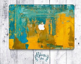 Modern art decal for macbook air, Modern art sticker for macbook, skin for macbook air, Blue and yellow vinyl skin for macbook BS002